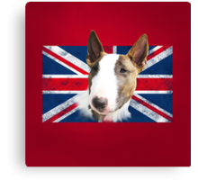 Bull Terrier BETTY Bullterrier UK grunge FLAG // red Canvas Print