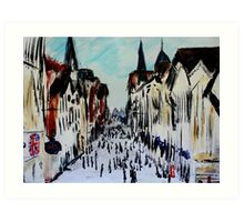 Chester Cityscape Urban Street Contemporary Acrylic Painting On Paper Art Print