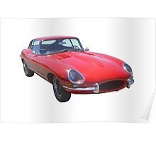 Red 1964 Jaguar XKE Antique Sportscar Poster