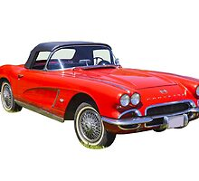 1962 Chevrolet Corvette Convertible Antique Car by KWJphotoart