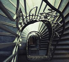 Green spiral staircase by JBlaminsky