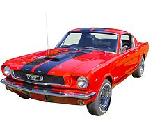 Red 1966 Ford Mustang Fastback by KWJphotoart