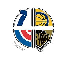 Indiana Sports TETRAlogy! Indianapolis Colts, Indiana Pacers, Chicago Cubs and Purdue Boilermakers by SplitDecision