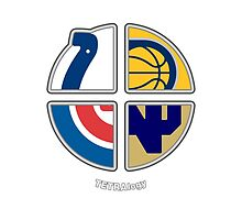 Indiana Sports TETRAlogy! Indianapolis Colts, Indiana Pacers, Chicago Cubs and University of Notre Dame Fighting Irish by SplitDecision
