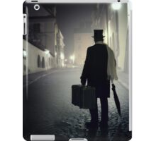 Victorian man with top hat carrying a suitcase  iPad Case/Skin