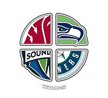 Seattle Sports TETRAlogy! Mariners, Seahawks, Sounders and Washington State Cougars by SplitDecision