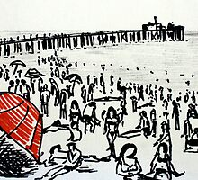 Beach Red Umbrella Black And White Seaside Illustration by JamesPeart