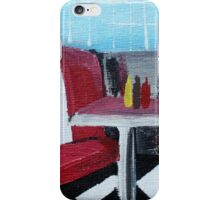 American Diner Art Red White Blue Kitchen Decor Contemporary Acrylic Painting iPhone Case/Skin