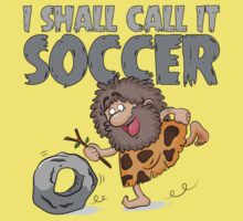 The Invention Of Soccer - Funny Caveman T Shirt by wordsonashirt