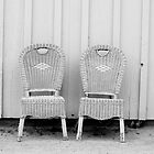 Blue and Yellow Chairs in Black and White by Larry3