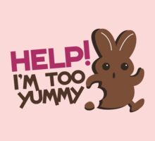 Help I'm too YUMMY! with cute chocolate bunny running by jazzydevil