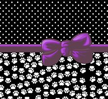 Ribbon, Bow, Dog Paws, Polka Dots - White Black Purple by sitnica