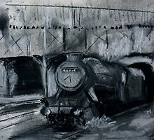 Steam Train Tamworth Station Staffordshire England Charcoals by JamesPeart