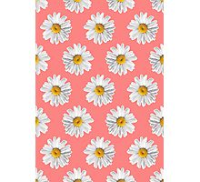 Daisies & Peaches - Daisy Pattern on Pink Photographic Print