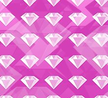 White Diamonds on Pink Background by ArtsyRosey