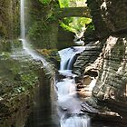 Rainbow Falls and Rainbow Bridge, Watkins Glen State Park, New York by DArthurBrown