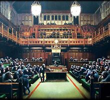Banksy Monkey Parliament by Syed Mowla