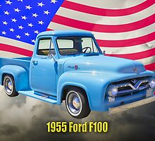 1955 F100 Ford Pickup Truck with US Flag by KWJphotoart