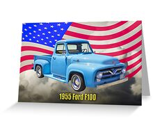 1955 F100 Ford Pickup Truck with US Flag Greeting Card