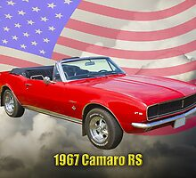 1967 Convertible Red Camaro And US Flag by KWJphotoart