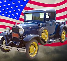 1930 Model A Ford Pickup And American Flag by KWJphotoart