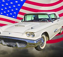 1958  Ford Thunderbird With American Flag by KWJphotoart