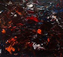Abstract Purple Orange Red Blue Drip Painting Acrylic On Canvas Board by JamesPeart
