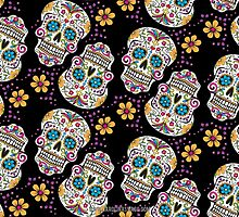 Sugar Skull Halloween, Day Of The Day BLACK by Carolina Swagger
