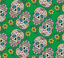 Sugar Skull Halloween, Day Of The Day GREEN by Carolina Swagger