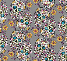 Sugar Skull Halloween, Day Of The Day GREY by Carolina Swagger