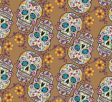 Sugar Skull Halloween, Day Of The Day TAN by Carolina Swagger