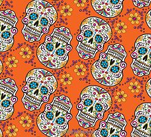 Sugar Skull Halloween, Day Of The Day ORANGE by Carolina Swagger