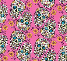 Sugar Skull Halloween, Day Of The Day PINK by Carolina Swagger