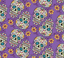 Sugar Skull Halloween, Day Of The Day PURPLE by Carolina Swagger