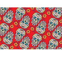 Sugar Skull Halloween, Day Of The Day RED Photographic Print