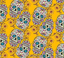 Sugar Skull Halloween, Day Of The Day YELLOW by Carolina Swagger