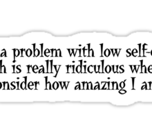 I have a problem with low self-esteem. Which is really ridiculous when you consider how amazing I am. Sticker