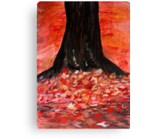 Autumn Fall Yellow Red Fallen Leaves Contemporary Acrylic Painting Canvas Print