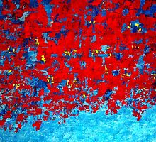 Red and Blue Abstract Knife Painting, Impasto Style by Holly Anderson Artist by hollyanderson