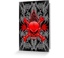 Red Fire Skull with Tribal Tattoos Greeting Card
