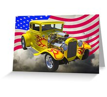 1930 Model A Hot Rod And American Flag Greeting Card