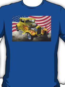 1930 Model A Hot Rod And American Flag T-Shirt