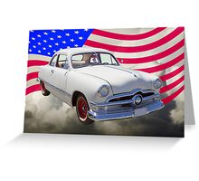 1950 Ford Custom Antique Car With American Flag Greeting Card