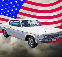 1966 Chevrolet Caprice 427 With United States Flag by KWJphotoart