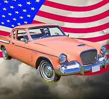 1961 Studebaker Hawk Coupe With American Flag by KWJphotoart