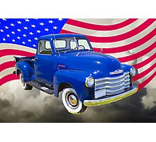 1947 Chevrolet Thriftmaster Pickup And American Flag Photographic Print