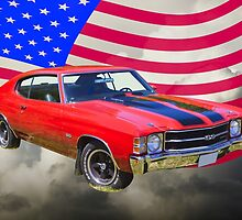 1971 chevrolet Chevelle SS And American Flag by KWJphotoart