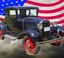 Antique Black Ford Model A Roadster With American Flag by KWJphotoart