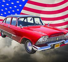 1958 Plymouth Savoy Car With American Flag by KWJphotoart