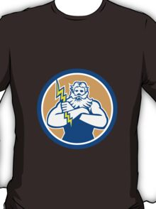 Zeus Greek God Arms Cross Thunderbolt Circle Retro T-Shirt